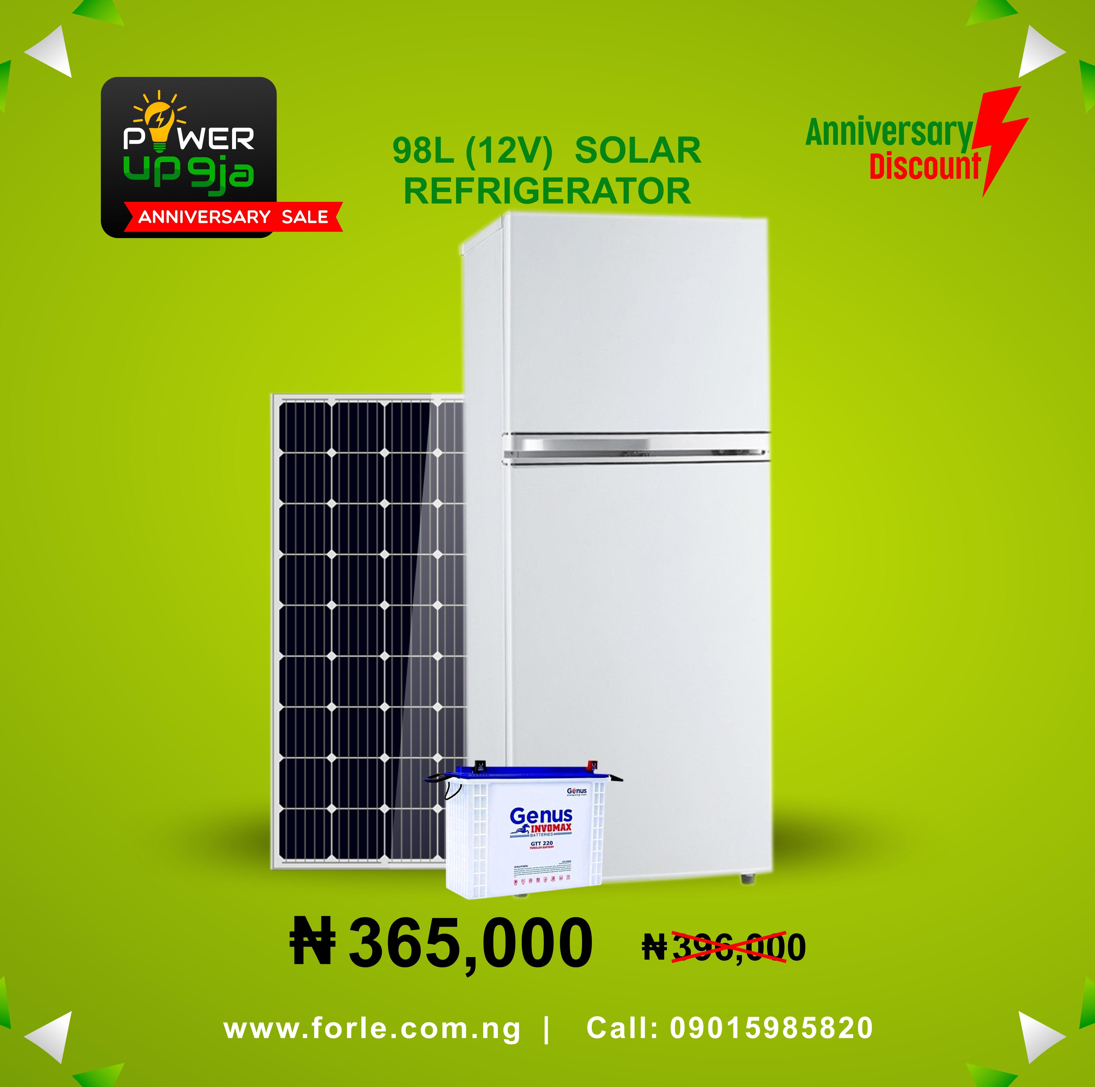 98L Solar Refrigerator (12V) + Panel & Batteries