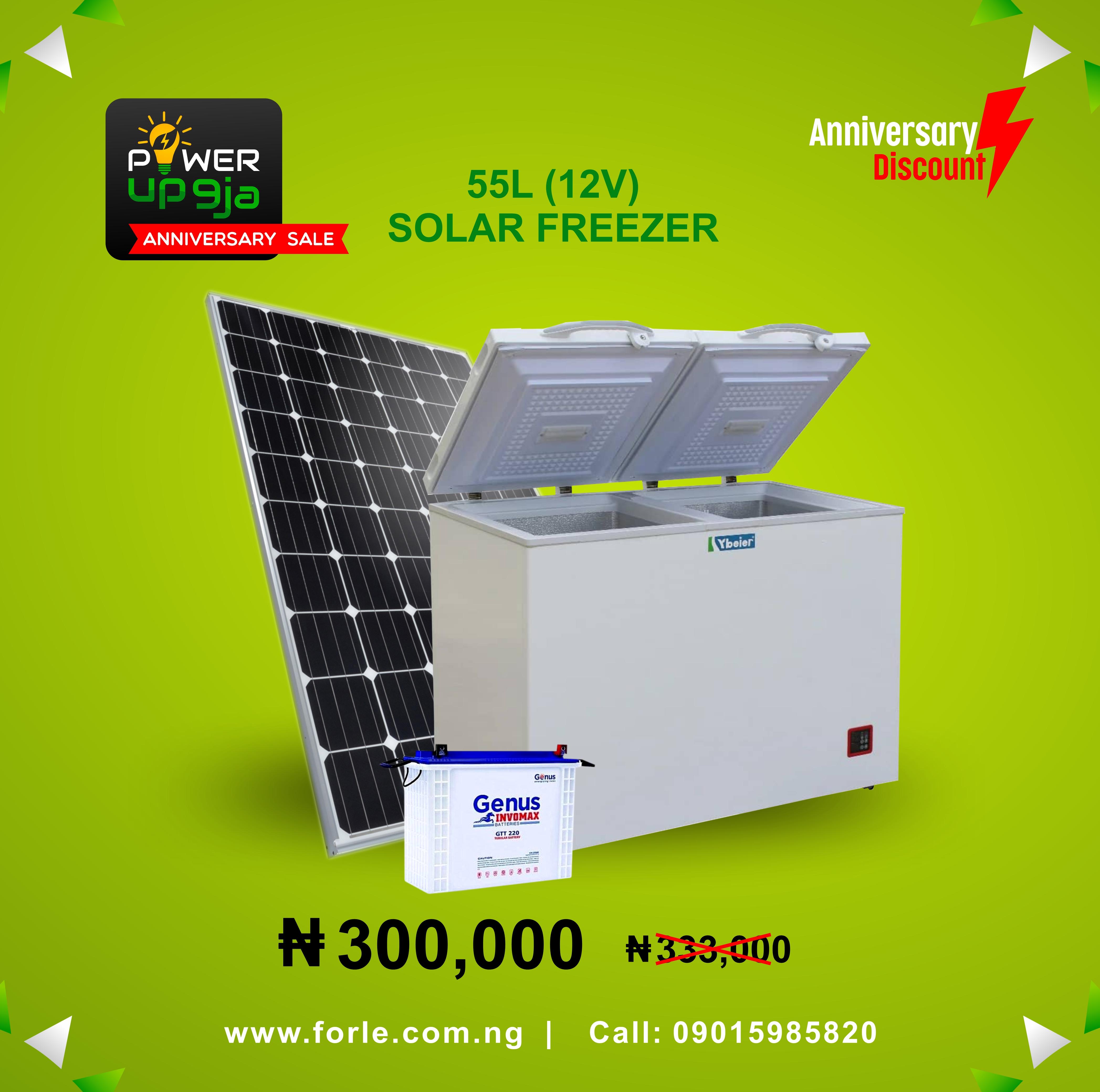 55L(12V) Solar Freezer + Panel & Battery