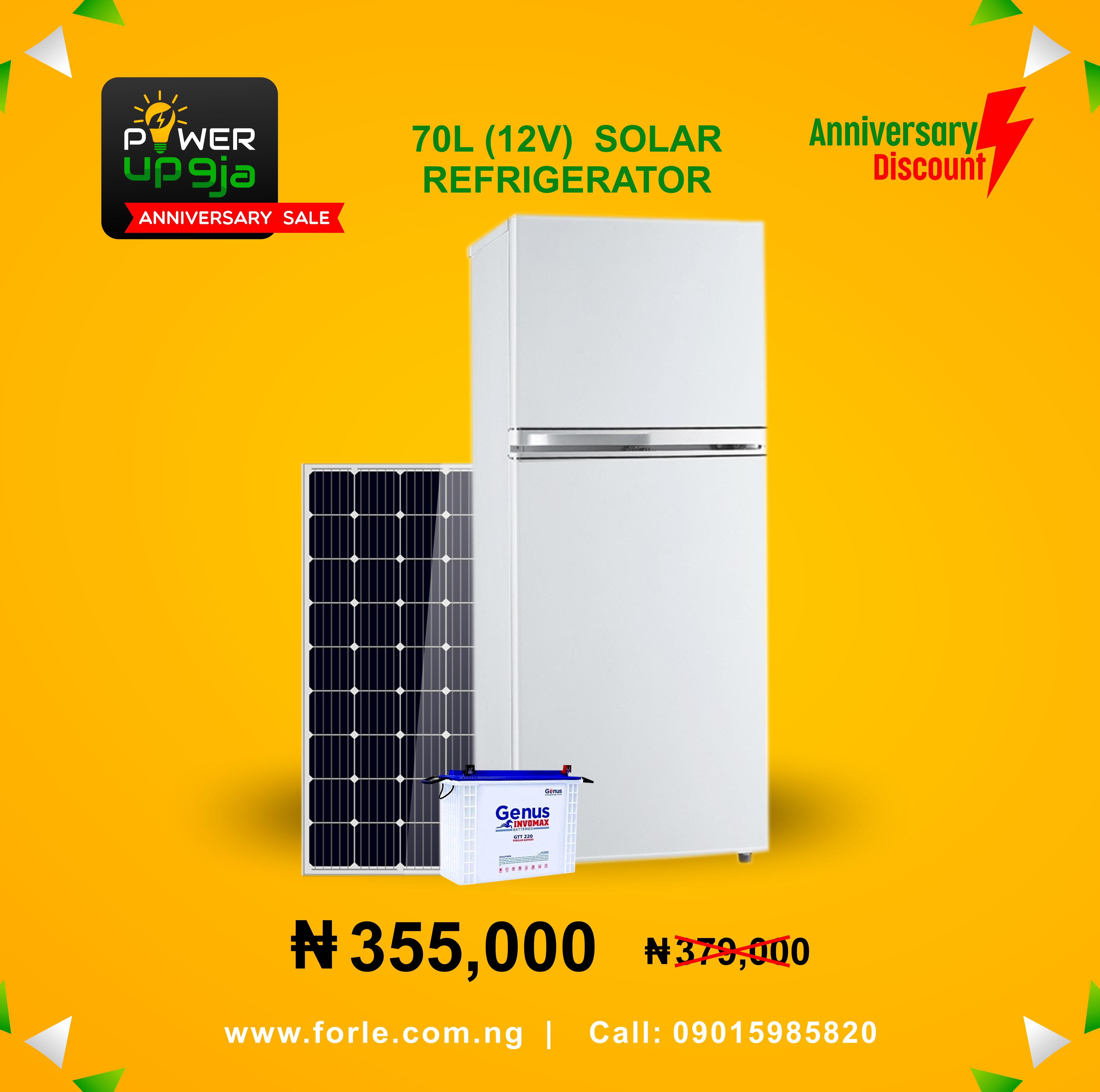 70L (12V) Solar Refrigerator + Panel & Battery
