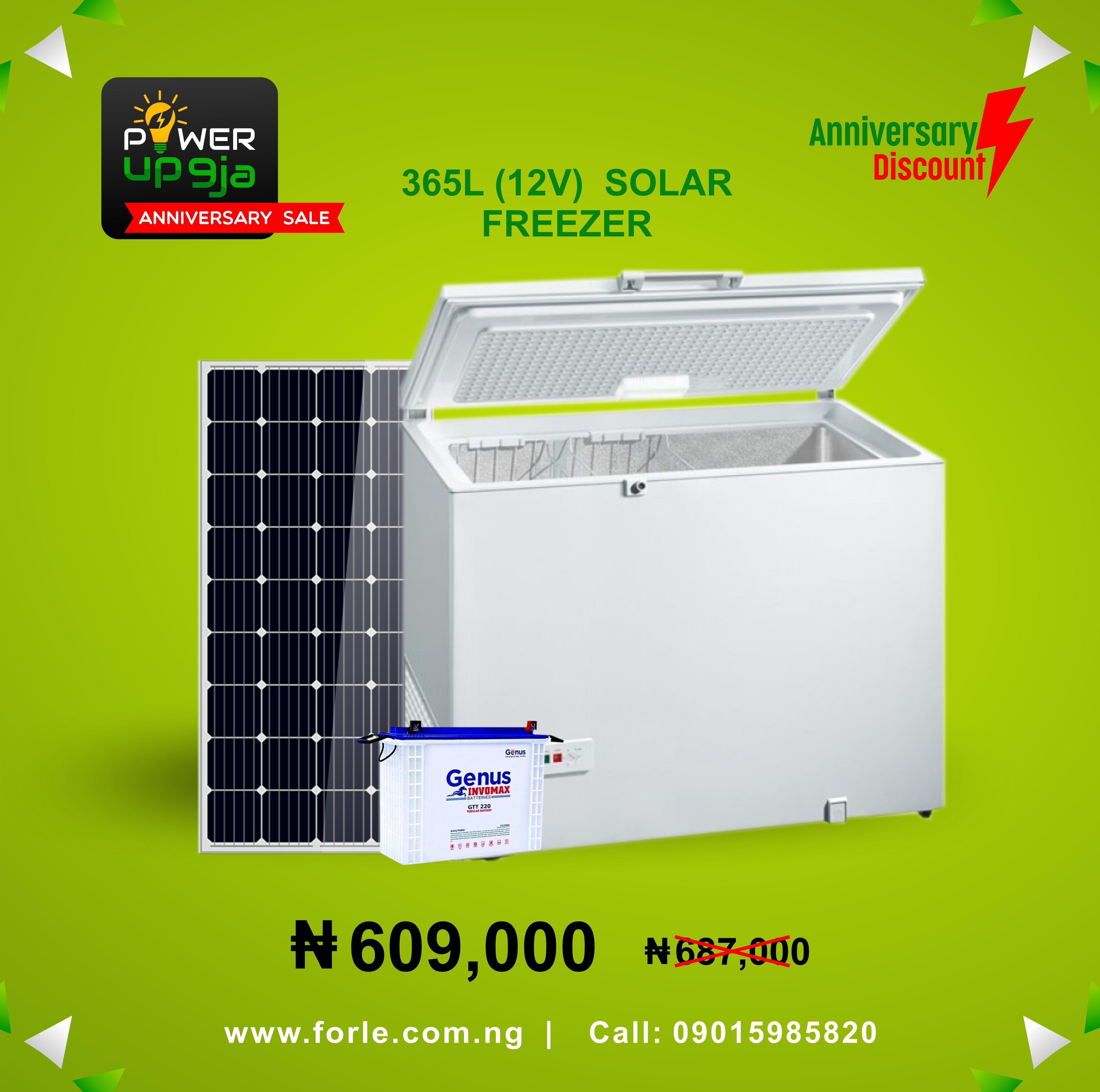 365L(24V) Solar Freezer + Panel & Battery
